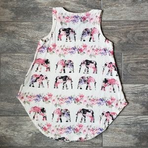 Gaze Tops - Floral Elephant Knit Tank Top Curved Hem